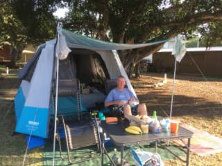 Camping in Queensland, Australia. Molly loves going camping with us.