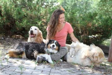 This is me and three of the dogs I took care of for a month while house sitting in Ontario.