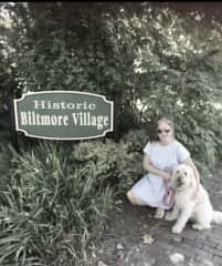 Sweet Maggie for a stroll and cafe visit in Biltmore Village, North Carolina.