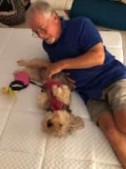 Bill with our friends dog Olivia