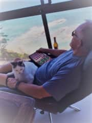 In Australia relaxing with Spook.