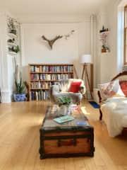 Our living room from the kitchen door (we're major bookworms!)