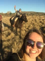 Rafa and Montaine during a horse riding in Patagonia
