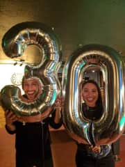 Us on our 30th birthday (oddly, we have the same birthday)