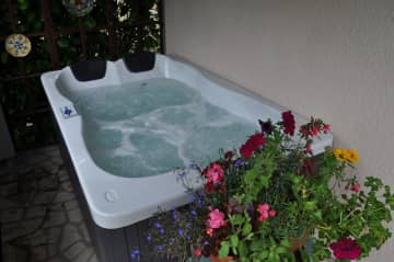 2-person hot tub/Jacuzzi in a secluded corner of the back terrace