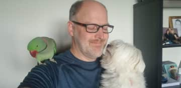 Erik with Harley and Snowy