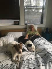 Kate with our granddogs in Bend Oregon