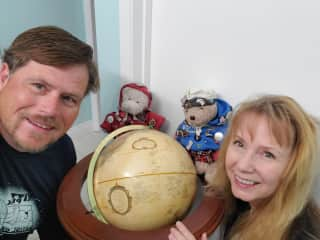 Ted, Jeannie and the bears planning our next adventure