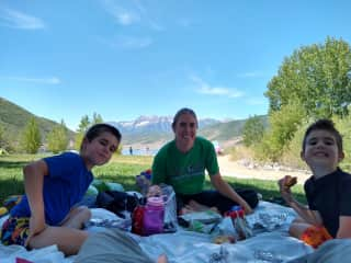 My boys and I picnicking while on a home exchange in Utah