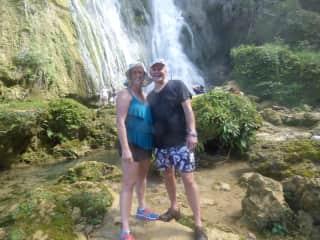 Hiking to the waterfall in Vanuatu.