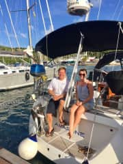 Helen and Harley in English Harbour, Antigua on a boat we delivered through the Caribbean