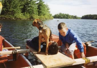 This is one of the dogs we had, Susie, when the kids were small. My husband David would take 3 kids, 2 dogs, 2 canoes and enough food for 3 days back into the woods to go camping.