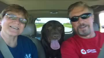 Teresa & Rick transporting a pup for the Friends of Rescue from Huntsville AL to Birmingham AL