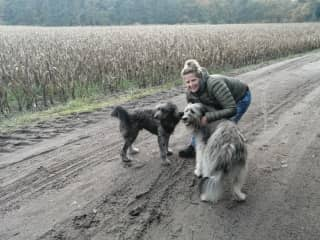 Iwan is the name of the dog at the left but also from my partner. Nouschka is the dog at the right.