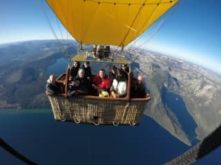 Ray & Catherine with friends on a hot air balloon over Lake Tahoe, Nevada