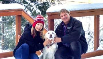 Enjoying the snow with Gracie in Lake Arrowhead, California, USA