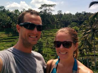 Shawn and Melissa at the beautiful rice fields in Bali, Indonesia