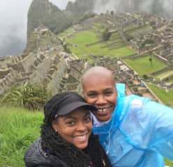 Vanessa and Jetta climbing Machu Picchu in the Sacred Valley of Peru.