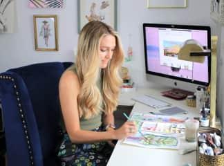 Rebecca in her art studio