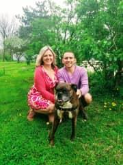 Tasha and I with Duchess, the family dog