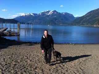 Rob with his sweet gal Ladybug near Vancouver, Canada.