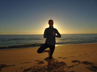 cheesy beach yoga shot