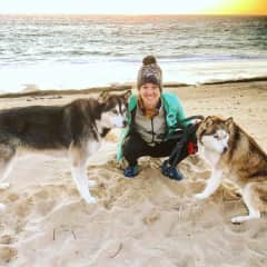 At the beach with my pups