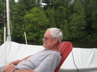 My husband on our dock at our lake cottage