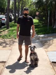 Poul and Smurf going for a walk in West Hollywood, CA; April 2021.