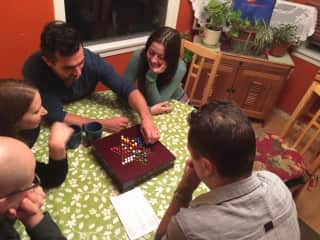 Ali and Joe playing a serious game of Chinese checkers