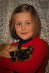 Sara with her first cat, Dolcevita