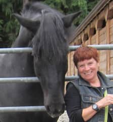 Donnae and one of the Vancouver police horses