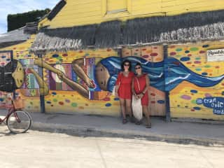 My oldest daughter and I sightseeing in Holbox, Mexico