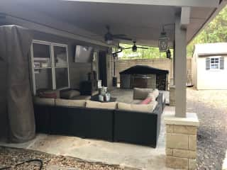 Back patio with built-in grill