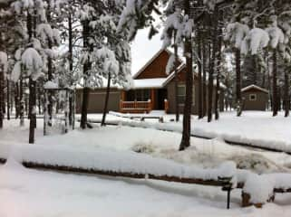 Our Oregon house in the winter. This was a heavy snow year!