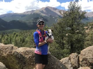 Myself and our Jack Russell, Cricket.  Hiking in Colorado (Pike's Peak is in the background).