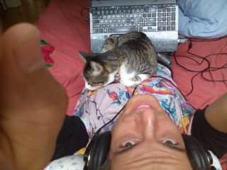 Me and a Melbourne friend's cat.