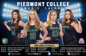 Me and Kayla (first and second from left) in Lacrosse Promo for Piedmont College.