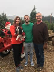 Our annual trek to the Christmas tree lot with our dog, Chaz