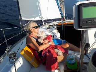 Susan ... pro dog cuddler while.. clients sail!