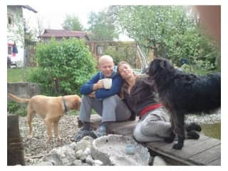 Us with Idunno and the neighbour's Lucky - these 2 practically lived together for most of their lives  ;-)