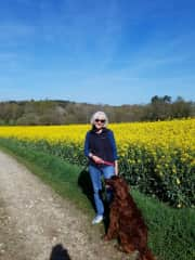 Me in Brittany, France walking Phoebe