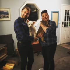 Tracey and her brother w/ their fur babies