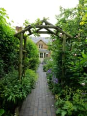 View of the cottage front path