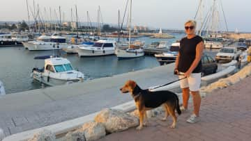Dylan with Carole during his walk around Zygi harbour just five minutes away