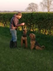 Hugh treating the dogs on a walk in the fields behind our house. Tulip is the one reaching for the treat!