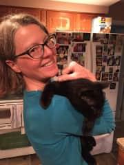 Riki with Sister's Cat Ziggie