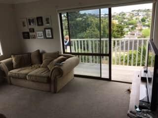 Second living area with deck overlooking garden