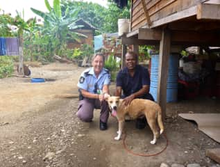 This is Doris, she was a street dog who Glenda rescued in the Solomon Islands. I found her a beautiful forever home with a local family and she became queen of the village.