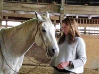 My wife with her horse, Hazier
